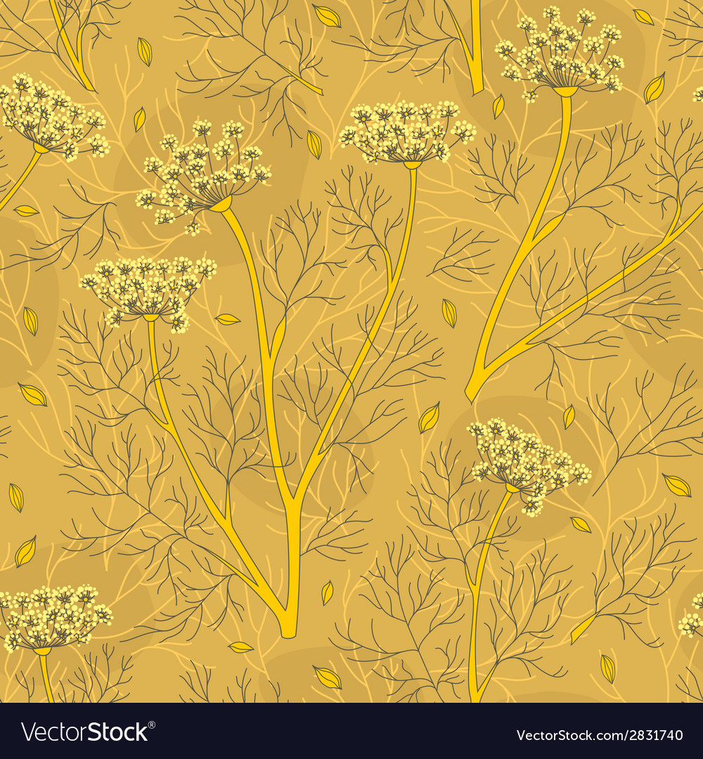 Fennel plants and seeds seamless pattern vector | Price: 1 Credit (USD $1)