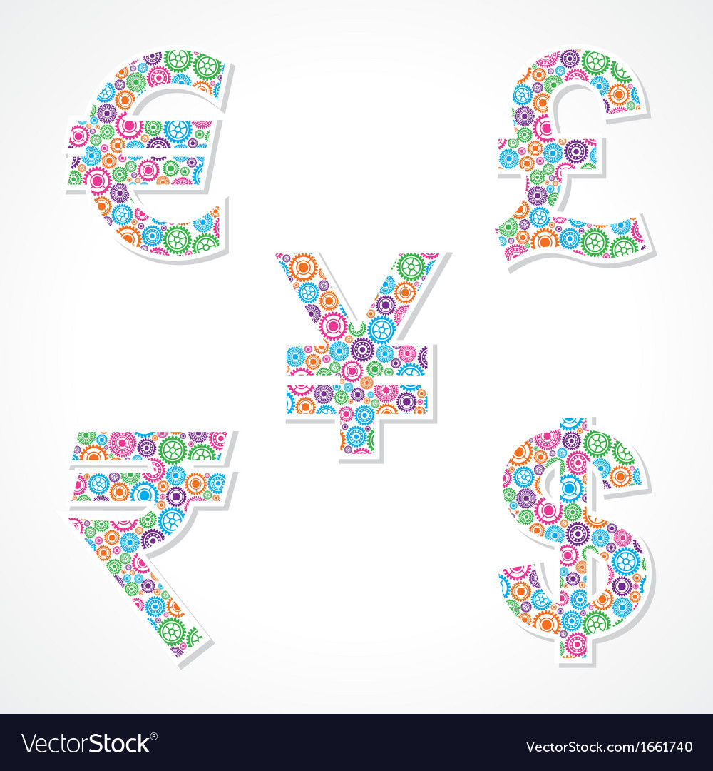 Group of gear make currency symbols vector | Price: 1 Credit (USD $1)