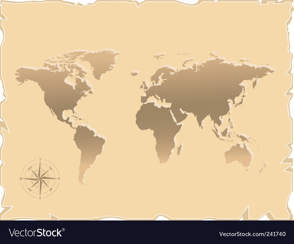 Old map of the world vector | Price: 1 Credit (USD $1)