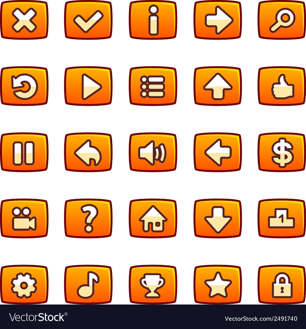 Orange buttons for game interface vector | Price: 1 Credit (USD $1)