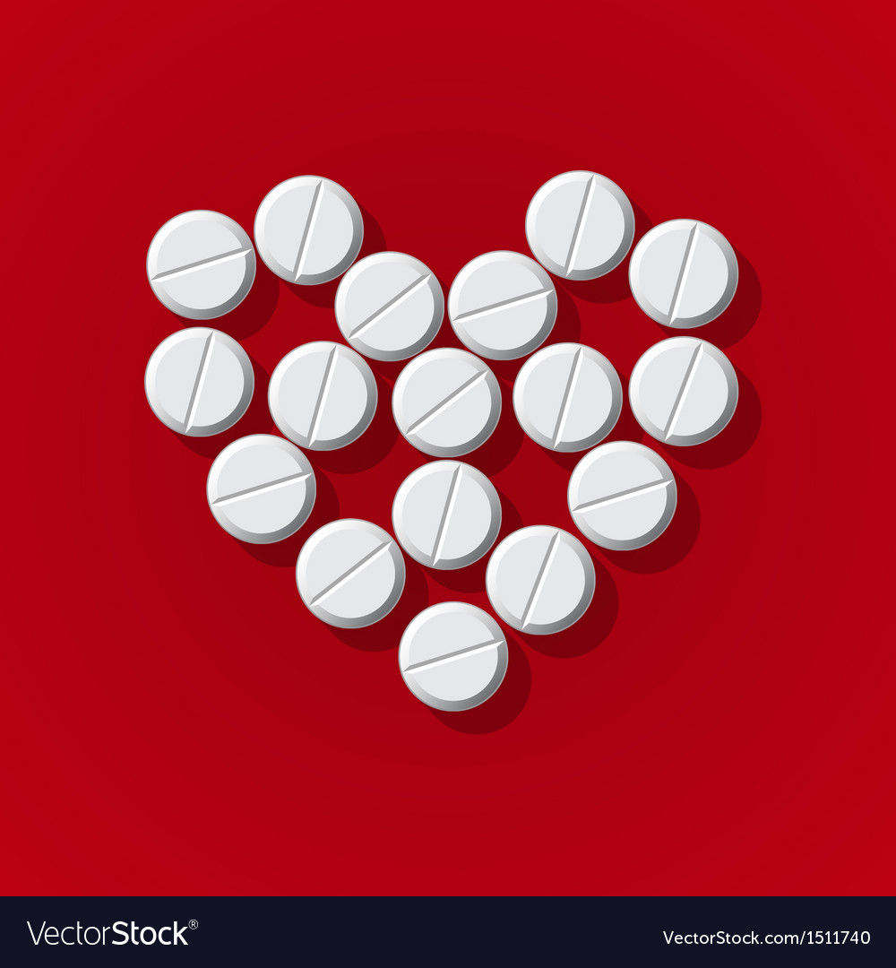 Pills in heart arrange on red background vector | Price: 1 Credit (USD $1)