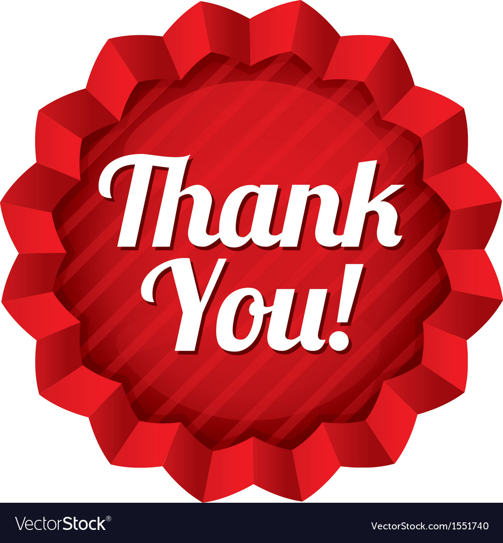 Thank you tag red round star sticker vector | Price: 1 Credit (USD $1)