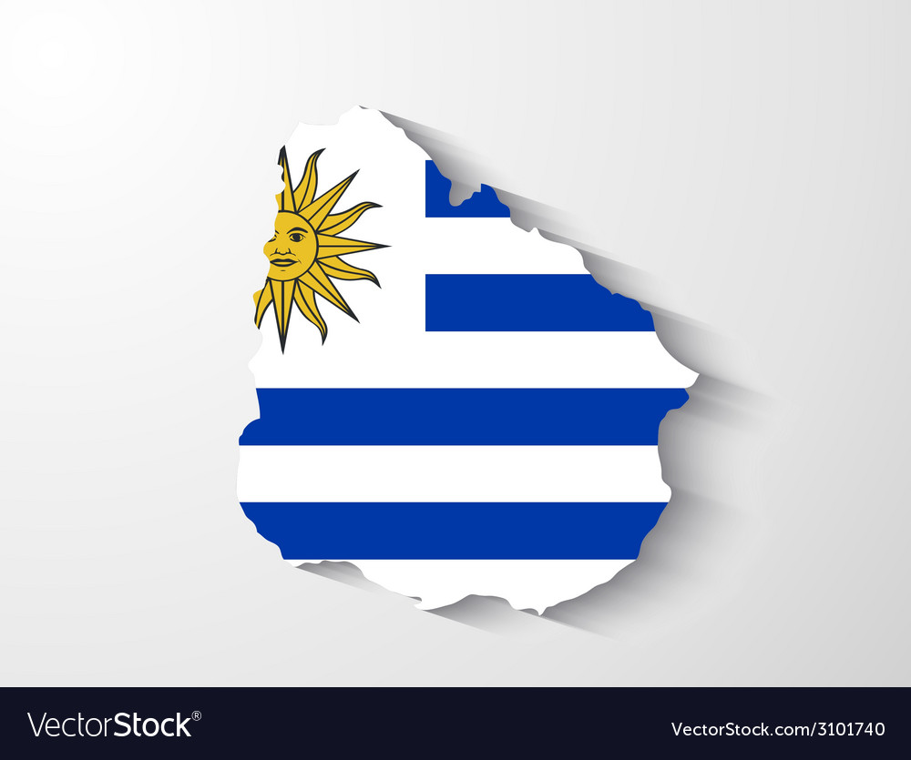 Uruguay map with shadow effect vector | Price: 1 Credit (USD $1)