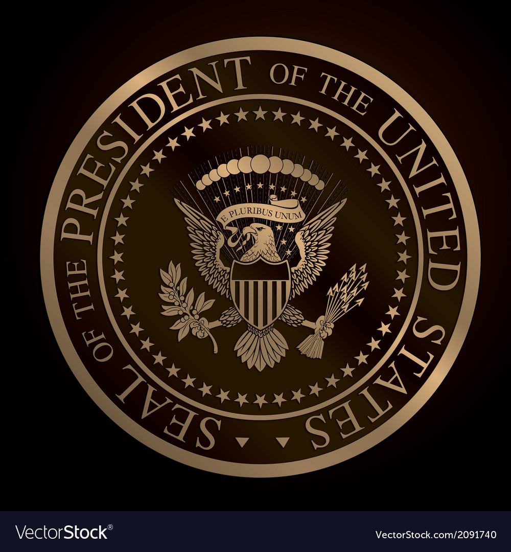 Us golden presidential seal emboss vector | Price: 1 Credit (USD $1)