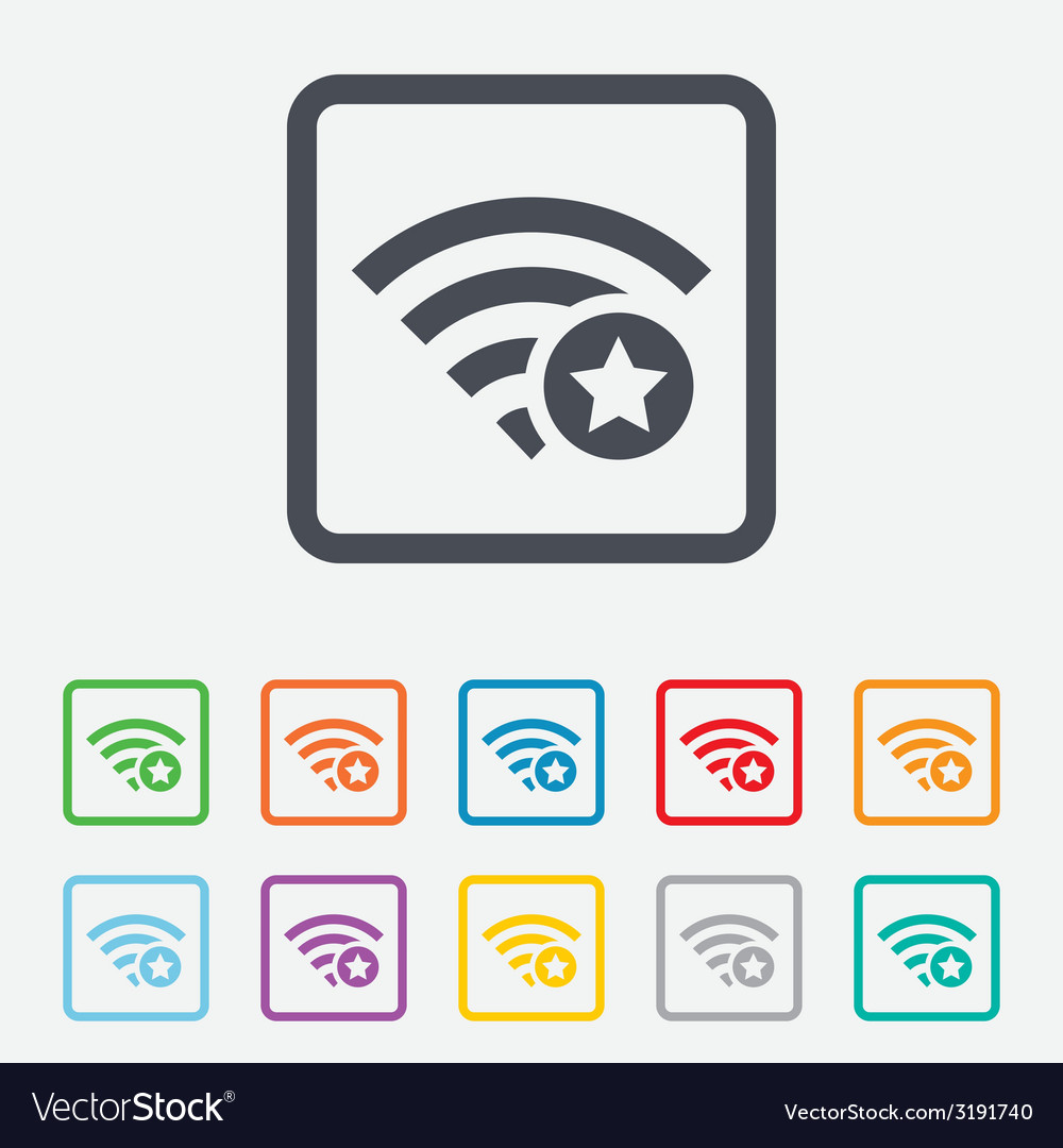 Wifi star sign favorite wi-fi symbol wireless vector | Price: 1 Credit (USD $1)