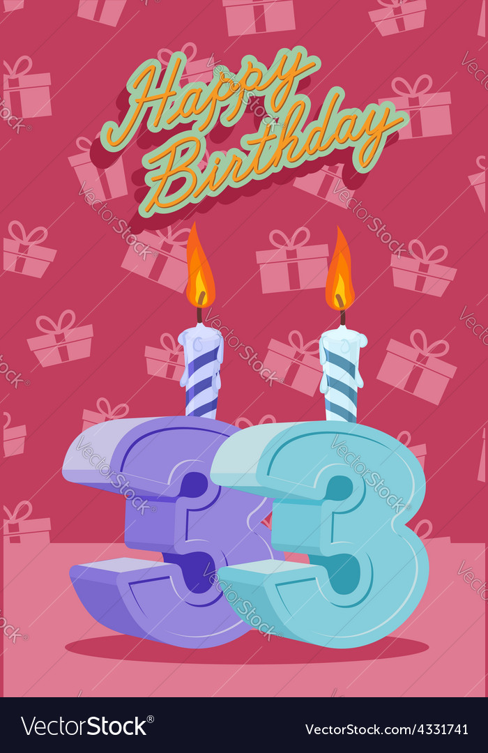 33 years celebration 33nd happy birthday vector | Price: 1 Credit (USD $1)