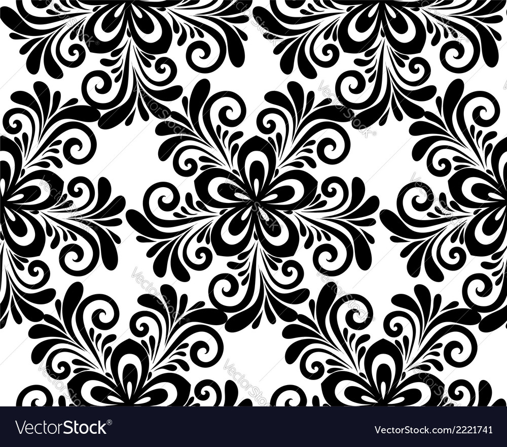 Black and white floral seamless pattern vector | Price: 1 Credit (USD $1)