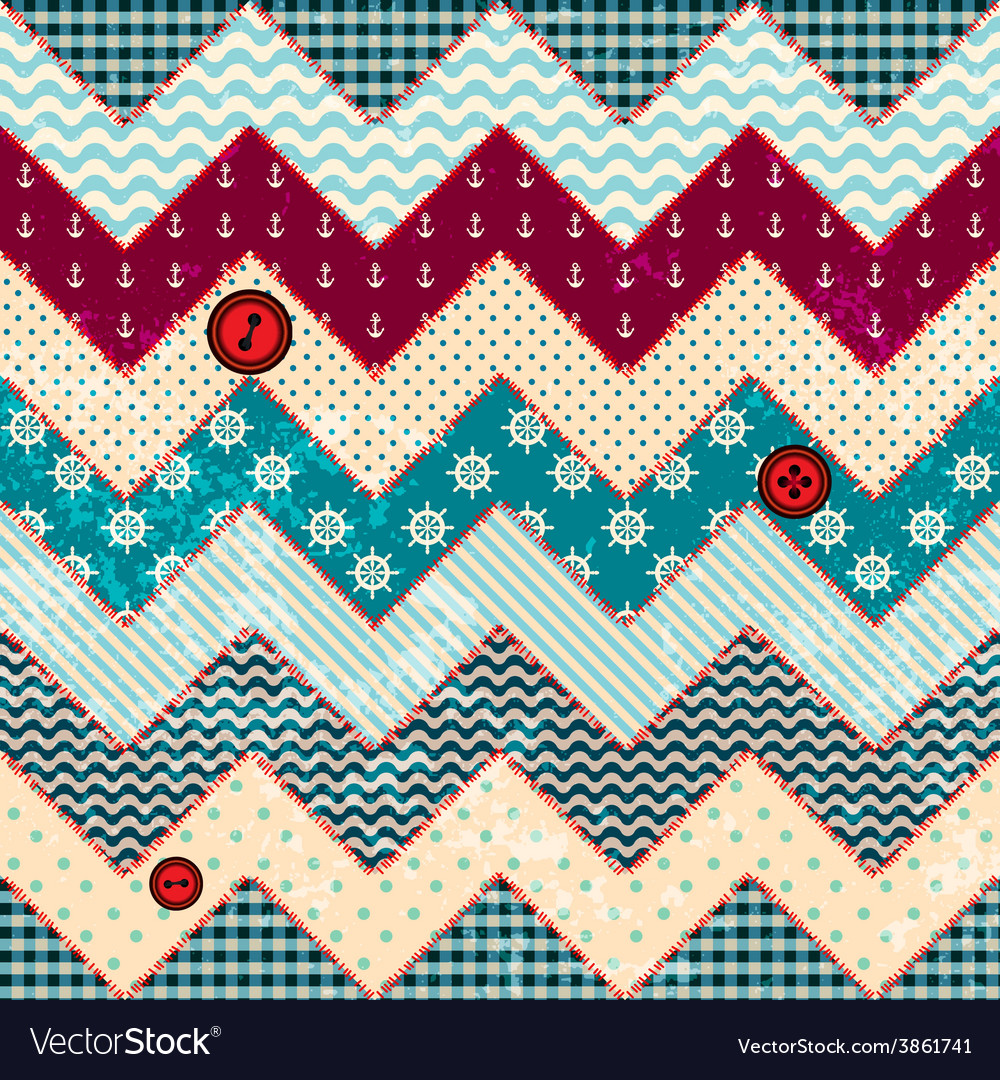 Chevron patchwork in nautical style vector | Price: 1 Credit (USD $1)