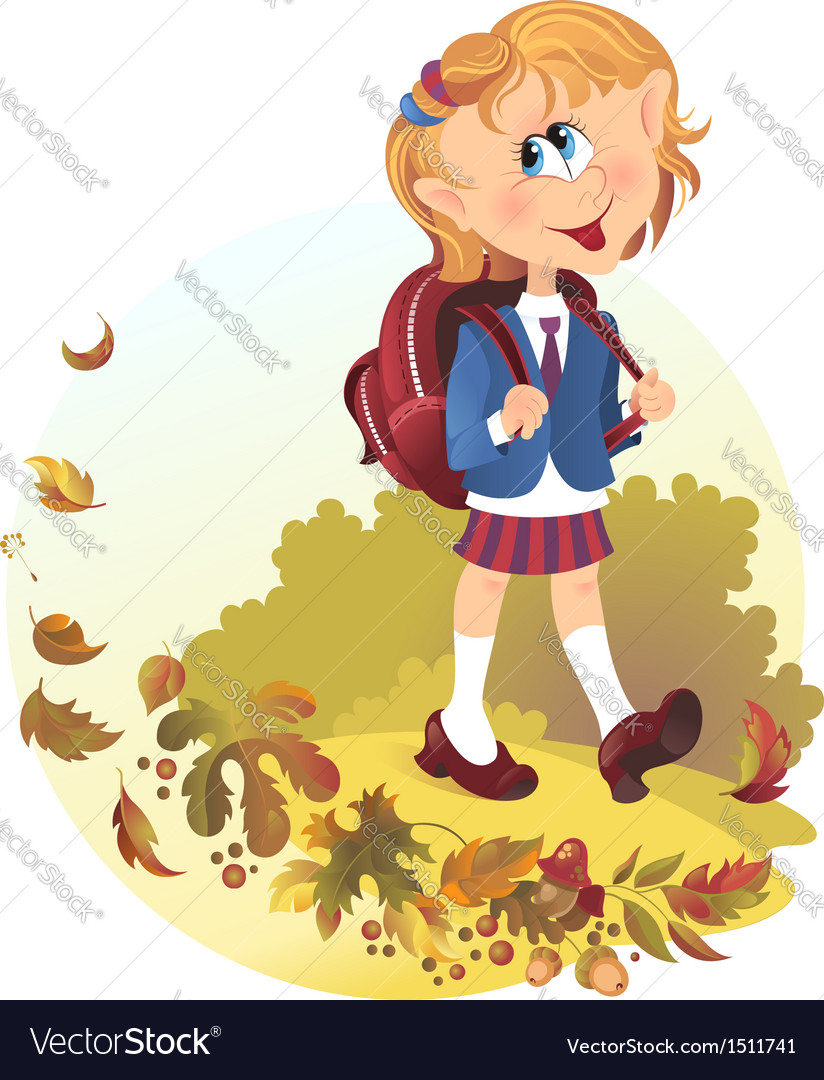 Cute little girl with backpack goes to school vector | Price: 1 Credit (USD $1)