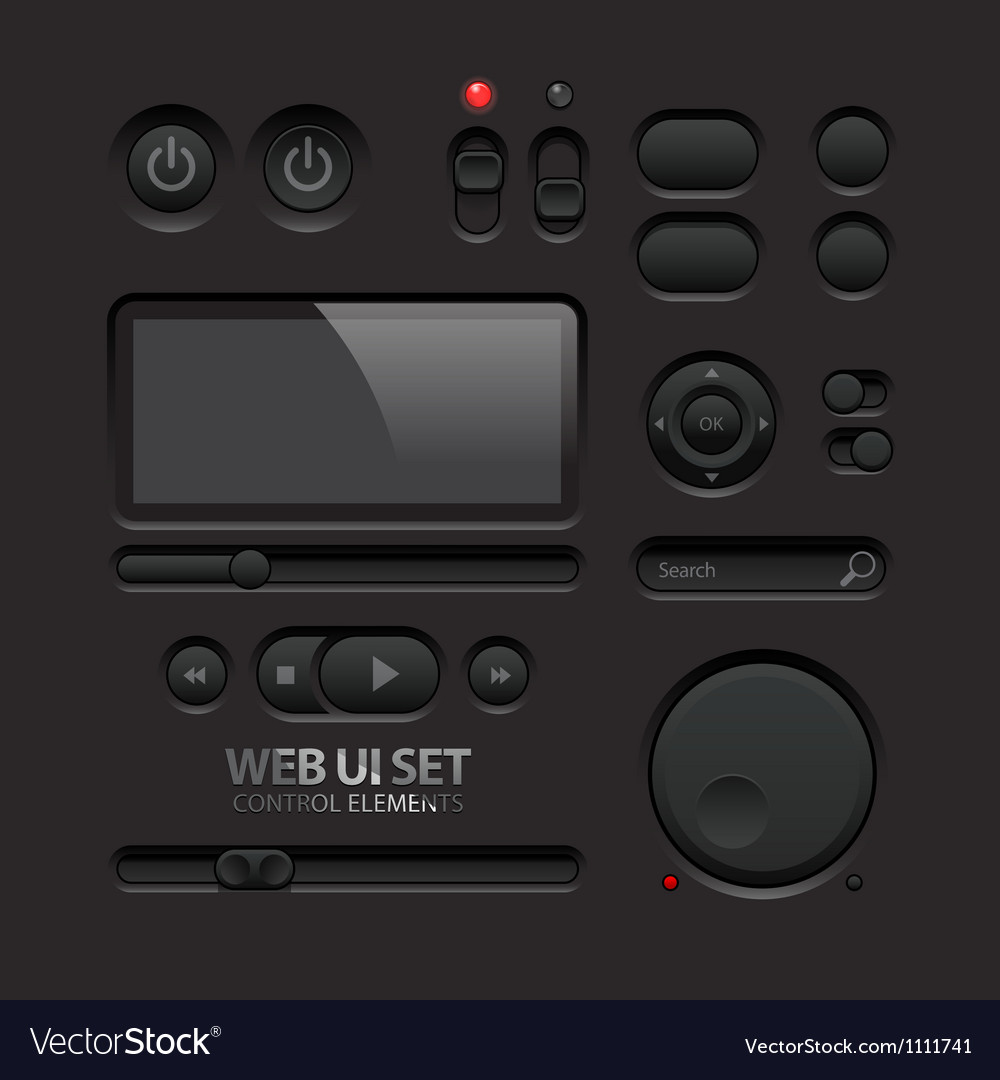 Dark web ui elements buttons switches bars vector | Price: 1 Credit (USD $1)