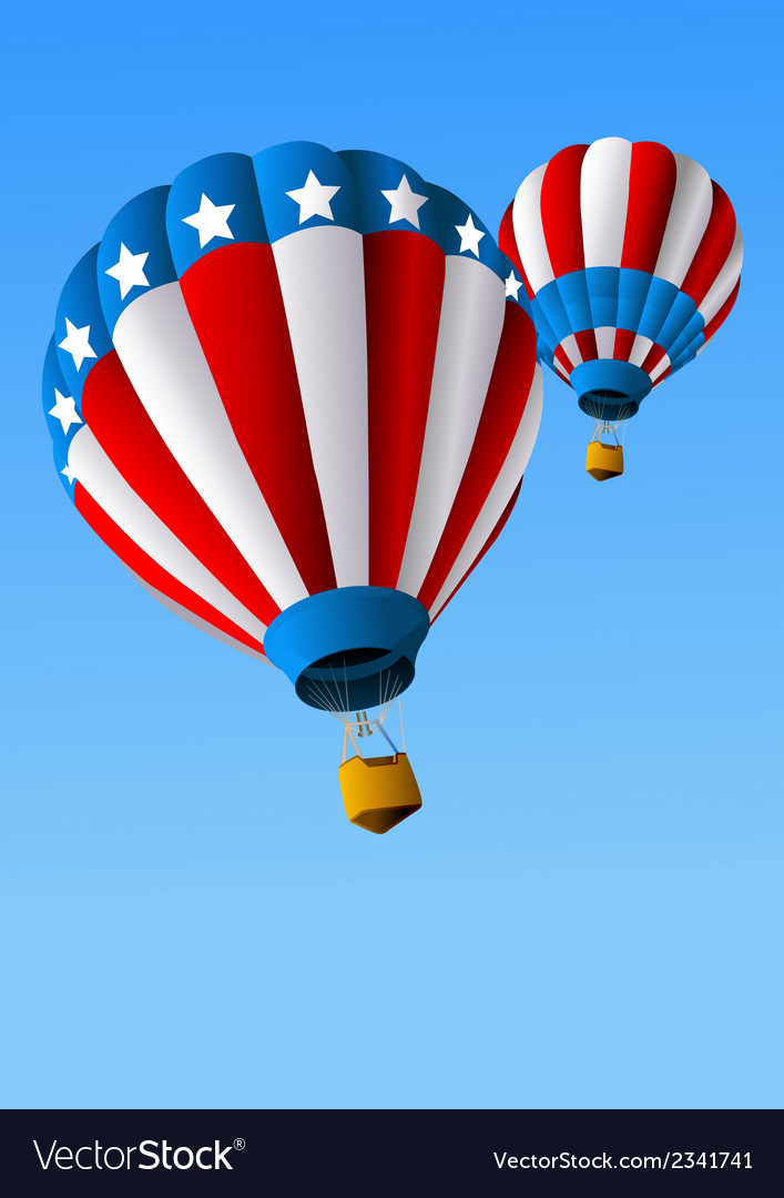 Hot air balloons of 4 of july background vector | Price: 1 Credit (USD $1)