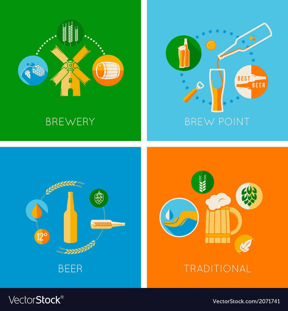 Set of flat beer design icons vector | Price: 1 Credit (USD $1)
