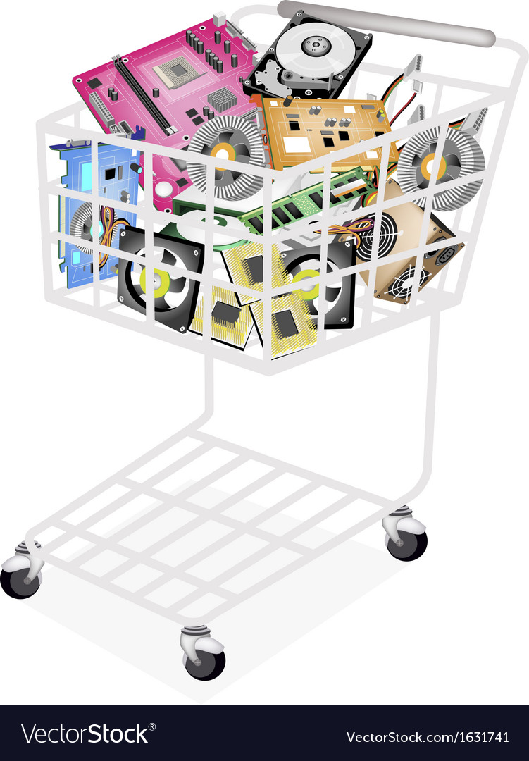 Set of hardware computer in a shopping cart vector | Price: 1 Credit (USD $1)