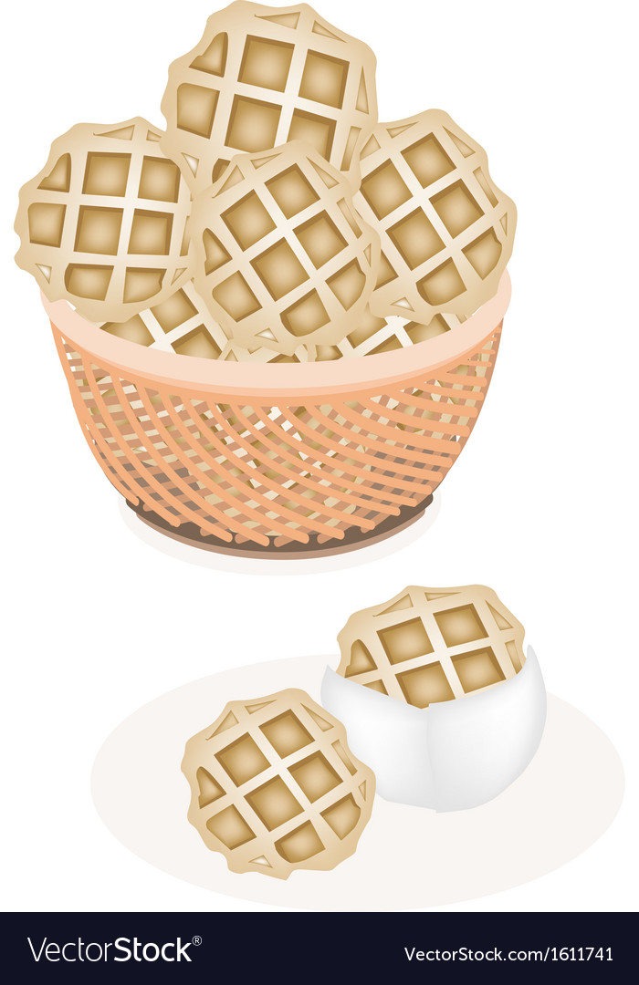 Two baked round waffles in a brown basket vector | Price: 1 Credit (USD $1)