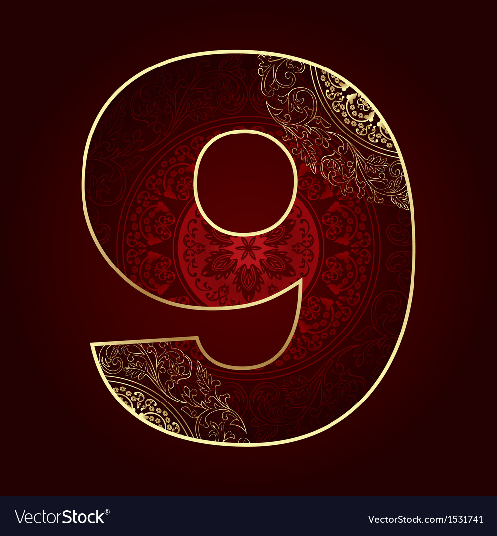 Vintage number 9 with floral swirls vector | Price: 1 Credit (USD $1)