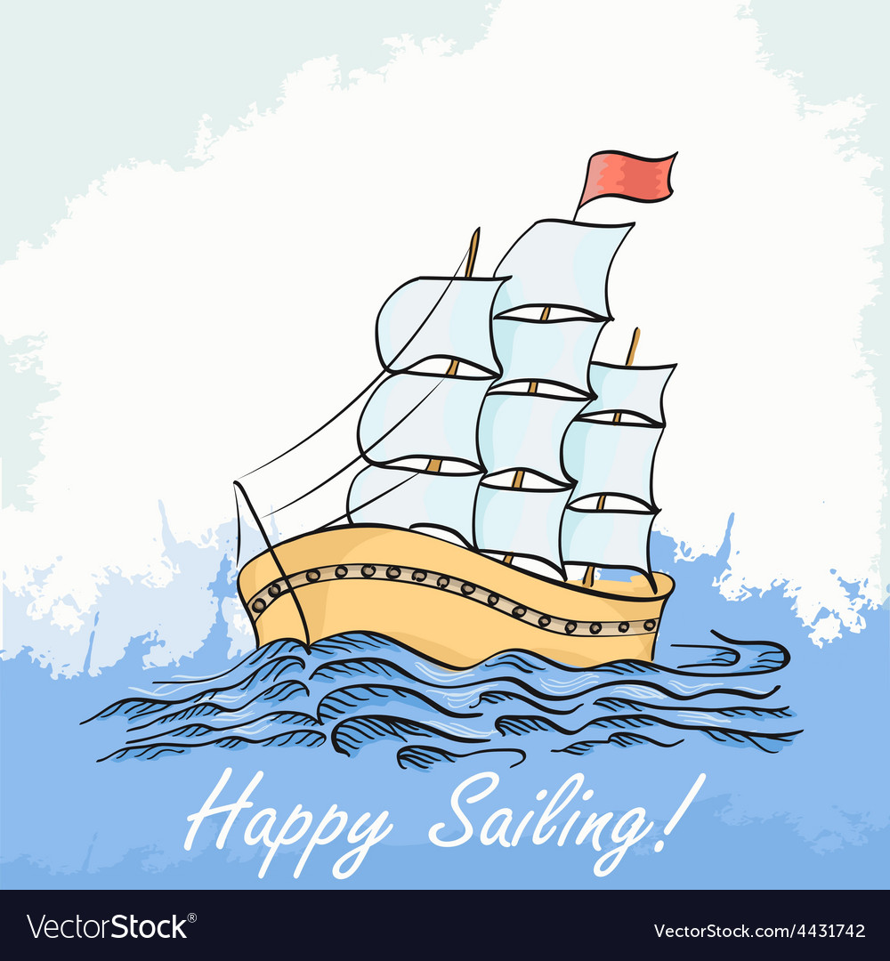 A ship sailing on the sea hand drawing vector | Price: 1 Credit (USD $1)