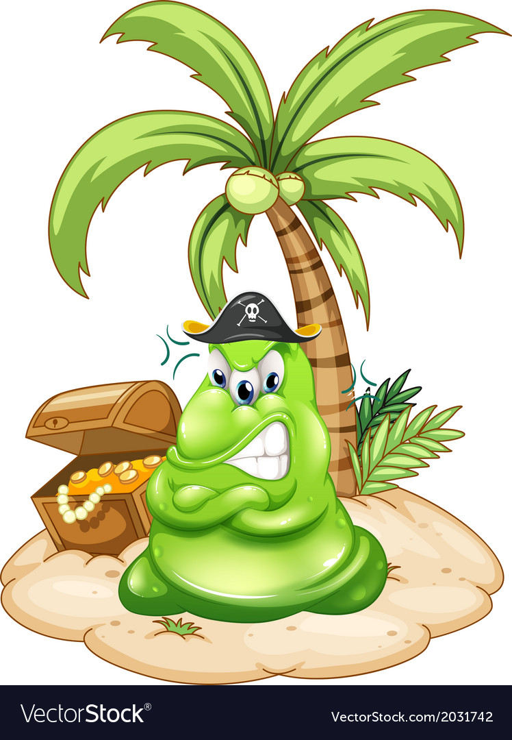 An angry pirate monster in the island with a vector | Price: 1 Credit (USD $1)
