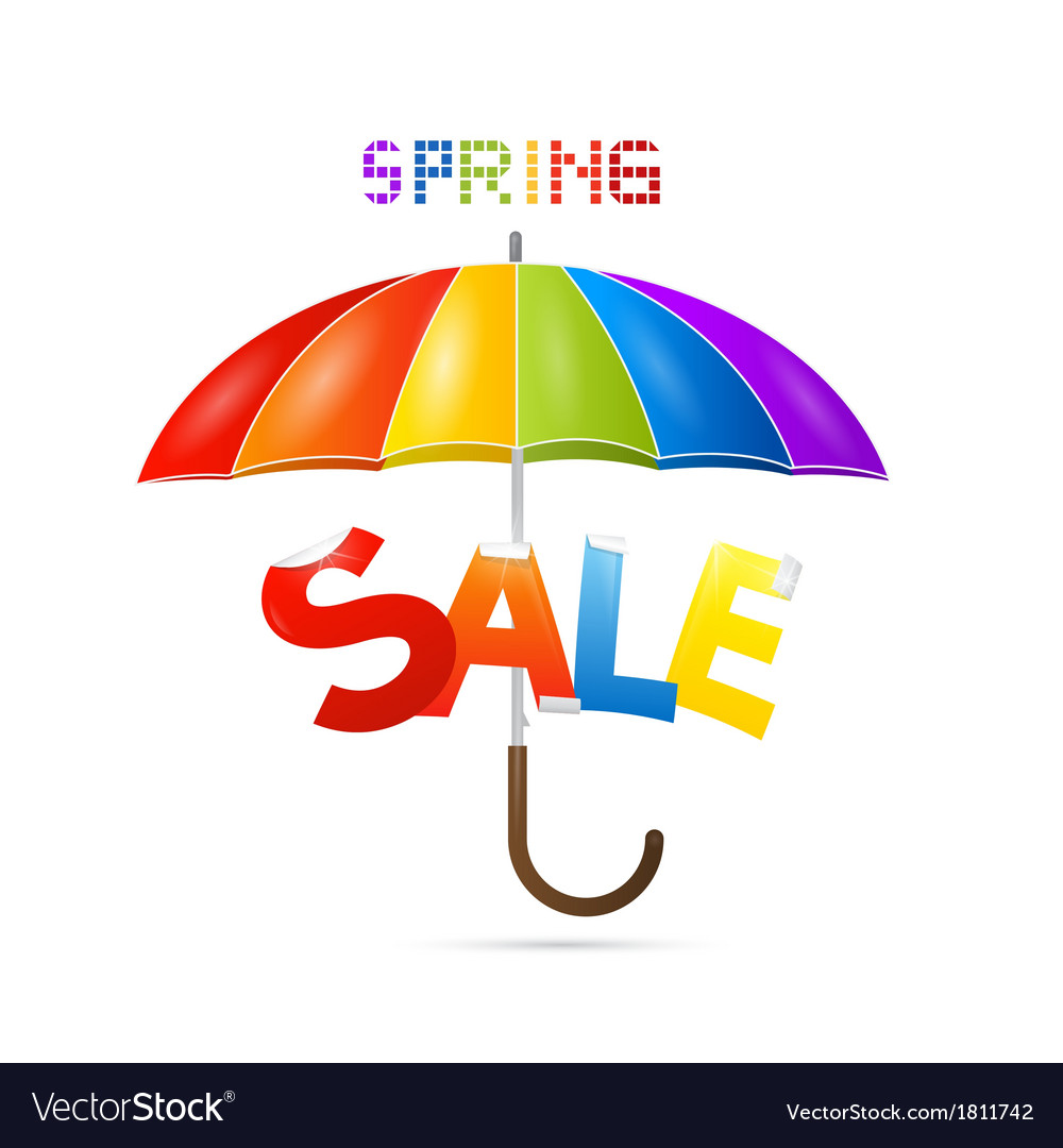 Colorful spring sale background with umbrella vector | Price: 1 Credit (USD $1)