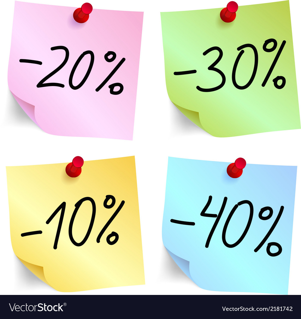 Discount on sticky note paper vector | Price: 1 Credit (USD $1)
