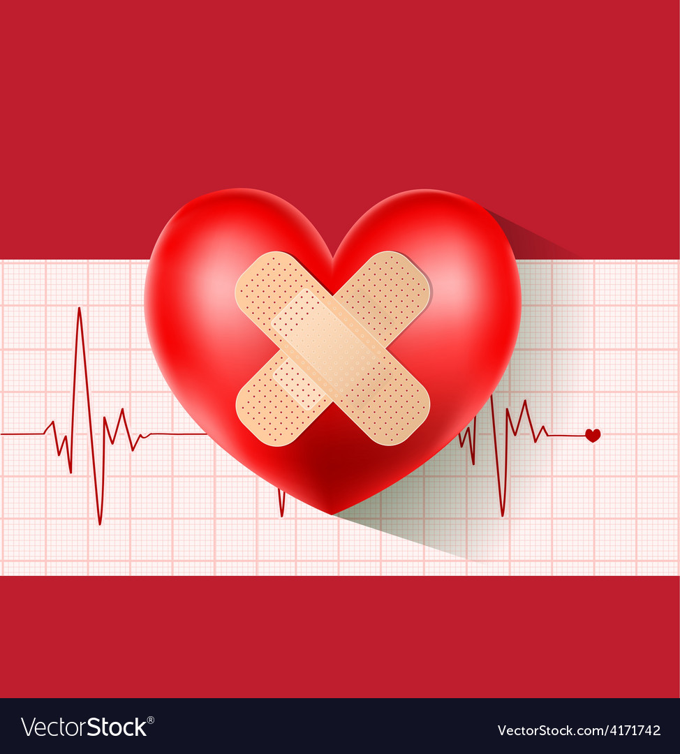 Heart with plaster on cardiogram vector | Price: 3 Credit (USD $3)