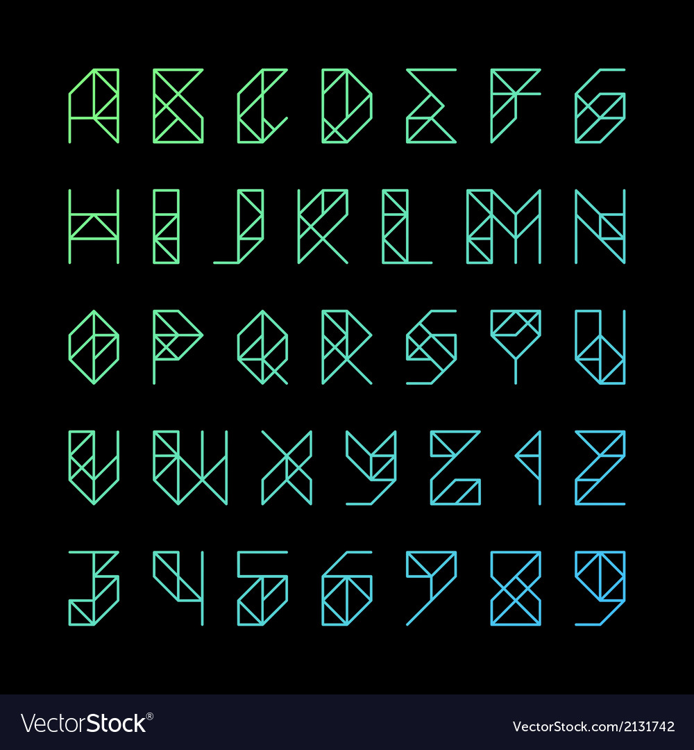 Modern alphabet letters and numbers vector | Price: 1 Credit (USD $1)
