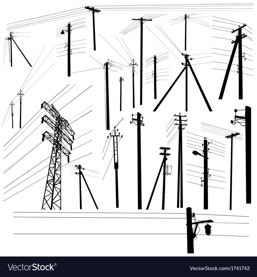 Pylon high voltage power lines silhouette set vector | Price: 1 Credit (USD $1)