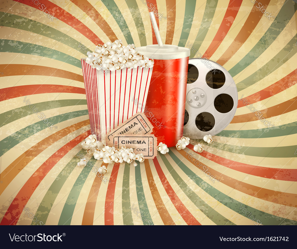 Retro background with popcorn and a drink vector | Price: 1 Credit (USD $1)
