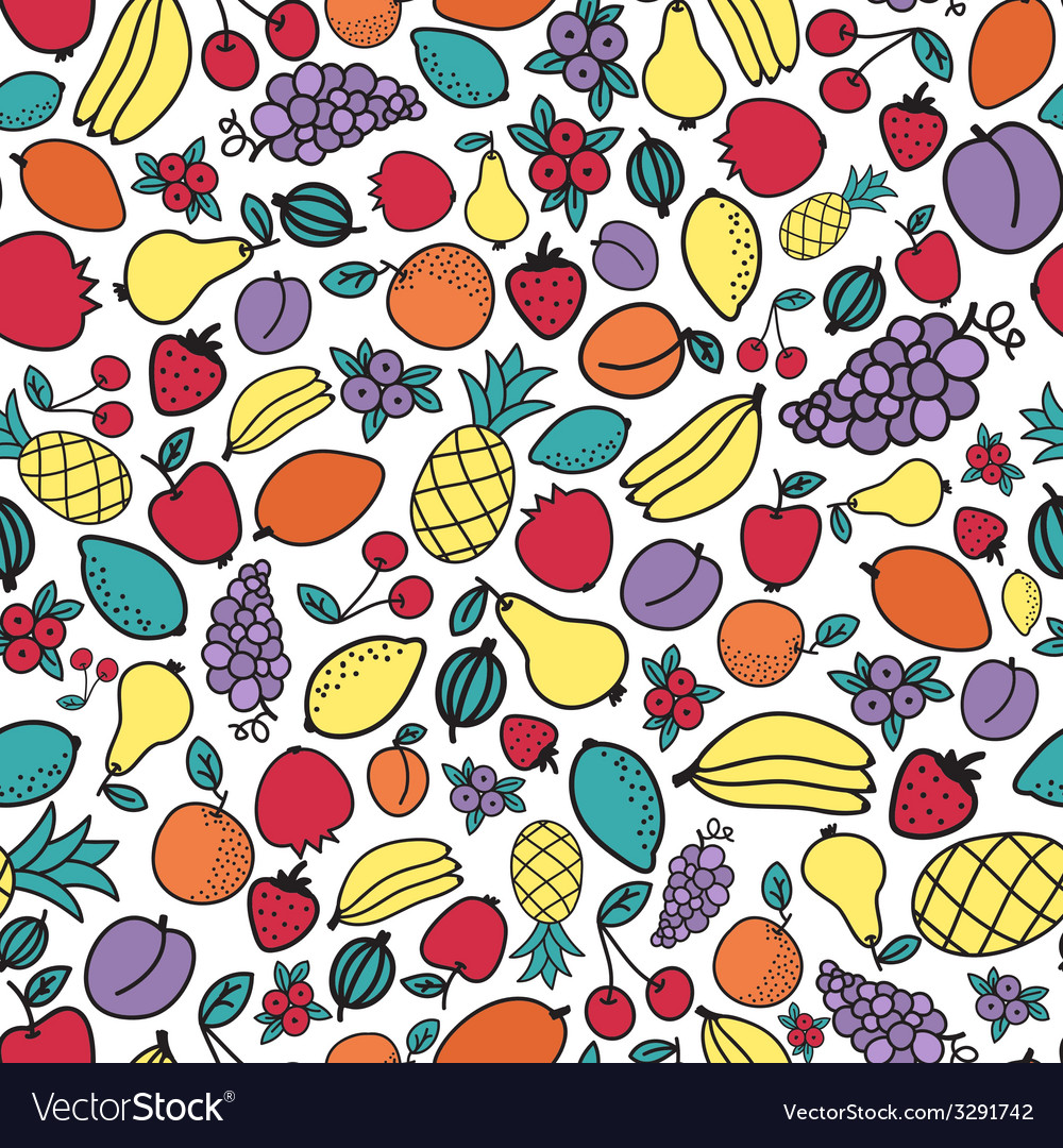 Seamless pattern with different fruits vector | Price: 1 Credit (USD $1)