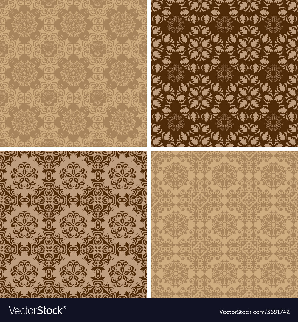 Seamless set four vintage backgrounds vector | Price: 1 Credit (USD $1)