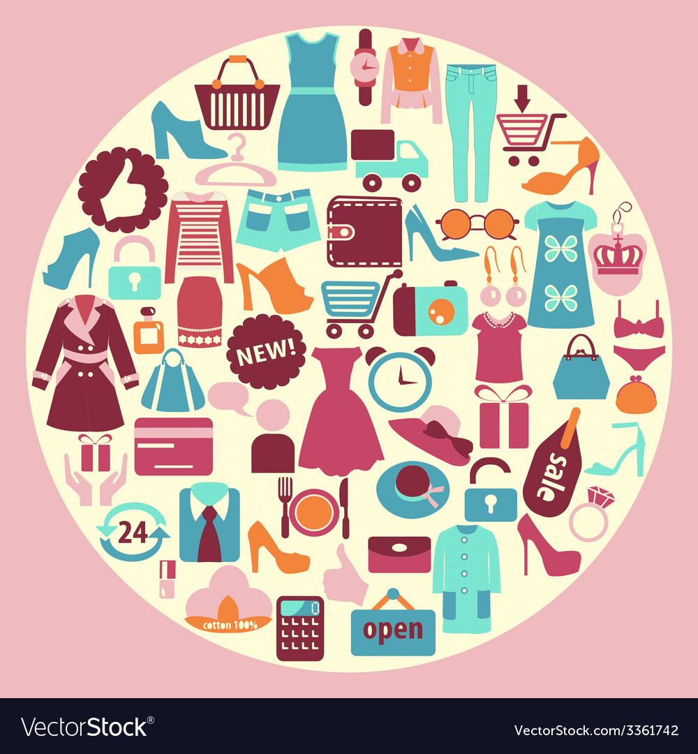 Shopping and fashion icons - background vector | Price: 1 Credit (USD $1)