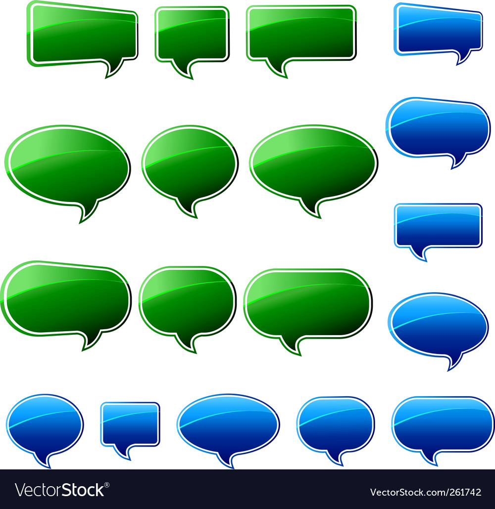 Speech bubbles green and blue vector | Price: 1 Credit (USD $1)