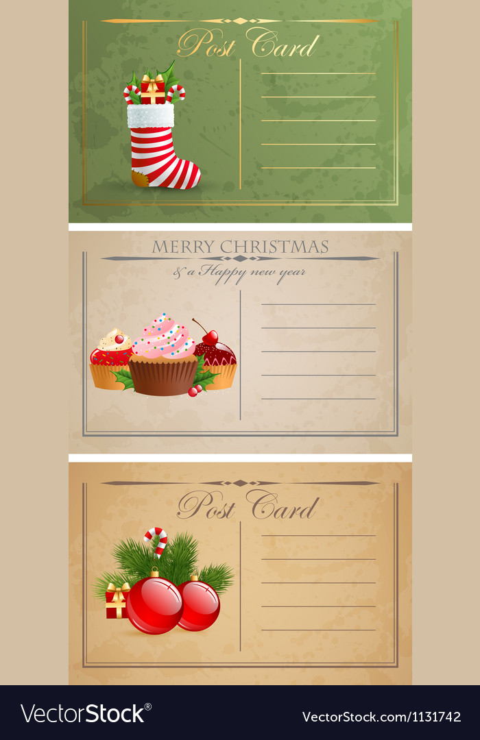 Vintage christmas postcards vector | Price: 1 Credit (USD $1)