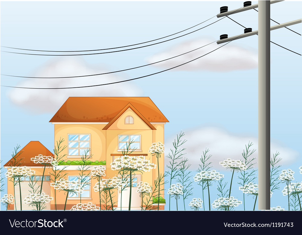 A big house near an electrical post vector | Price: 1 Credit (USD $1)