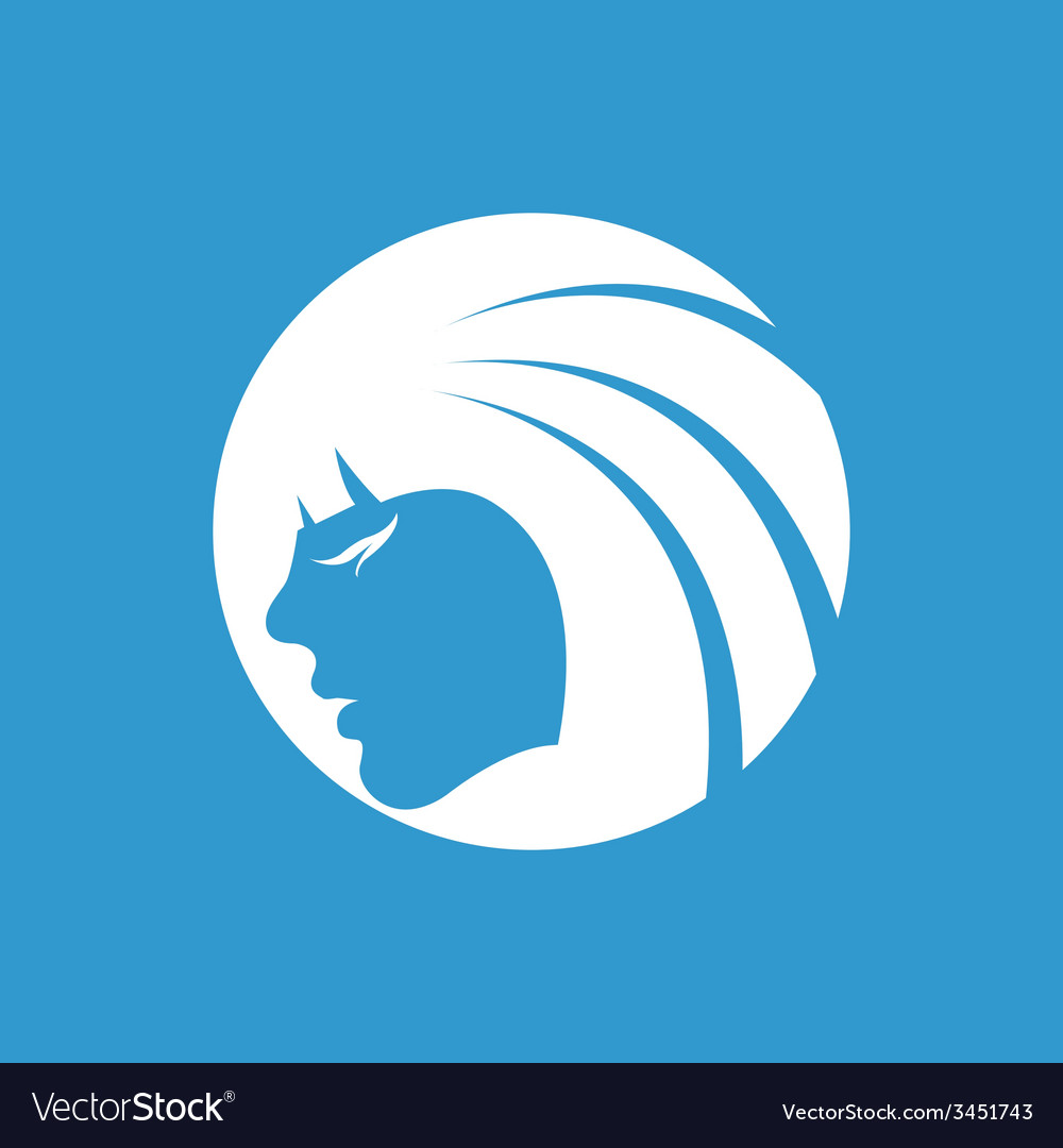 Beauty girl face icon white on the blue background vector | Price: 1 Credit (USD $1)