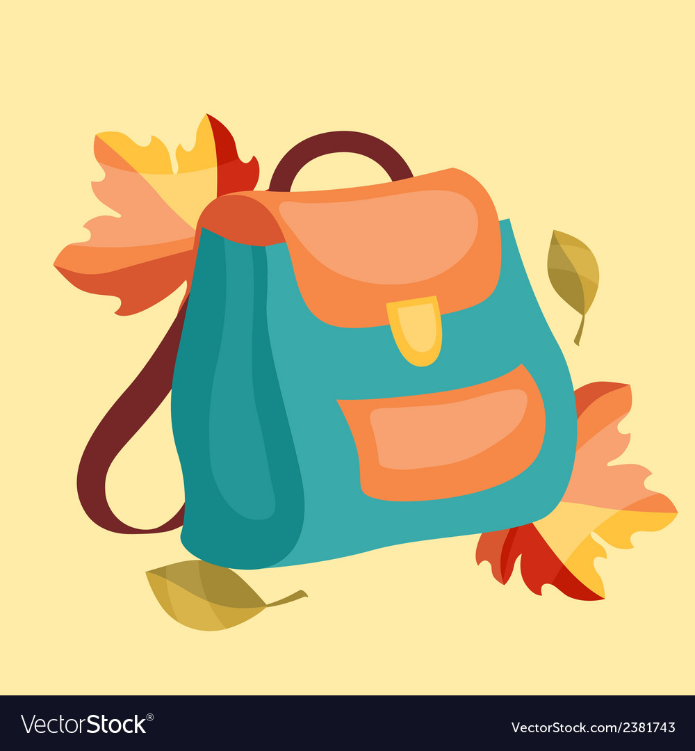 Book bag backpack school bag with autumn leaves vector | Price: 1 Credit (USD $1)