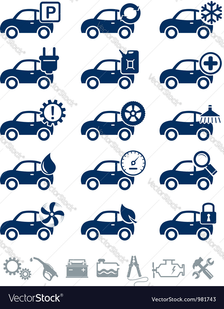 Car service icons blue set vector | Price:  Credit (USD $)