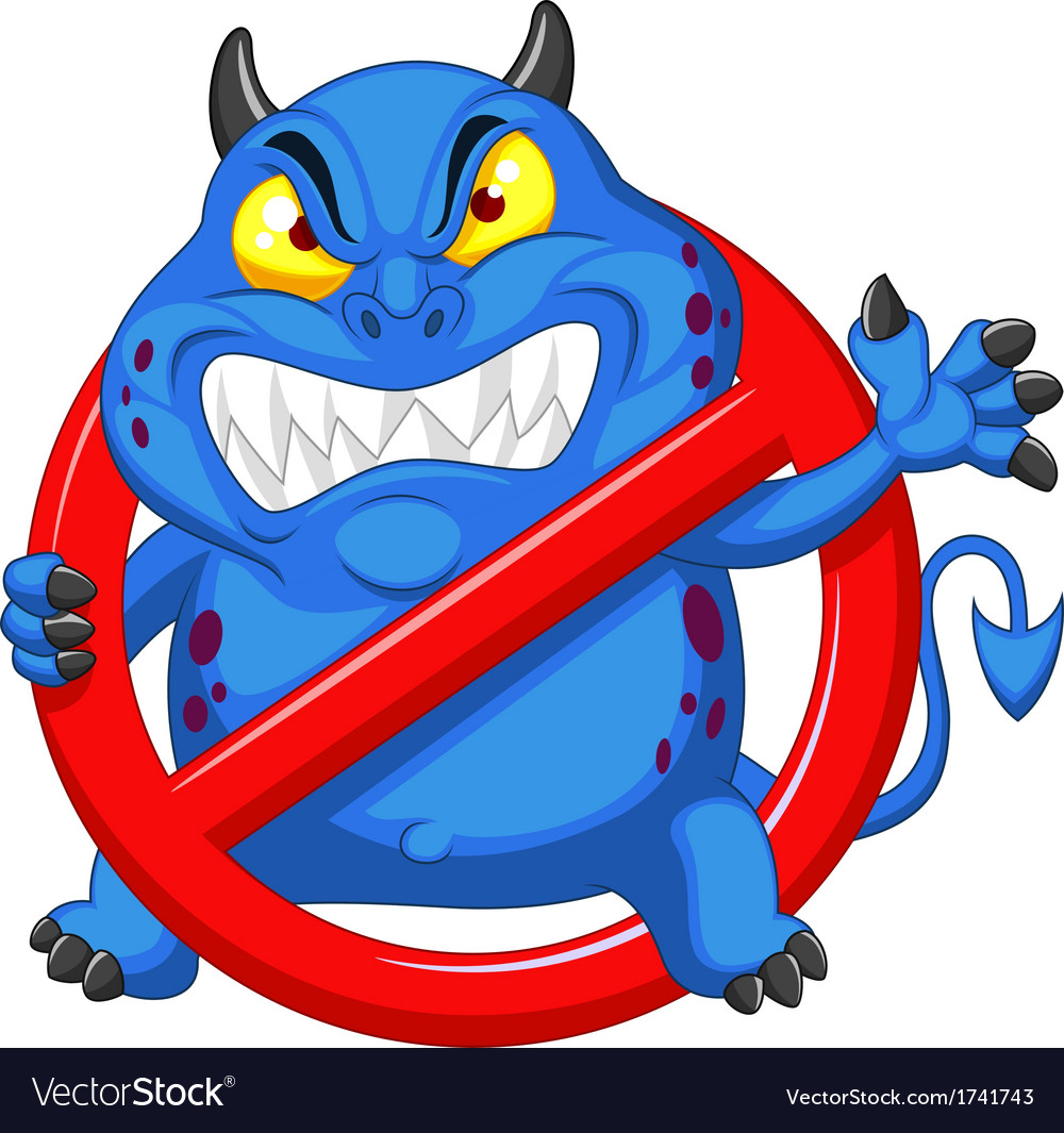 Cartoon stop virus - blue virus in red alert sign vector | Price: 3 Credit (USD $3)