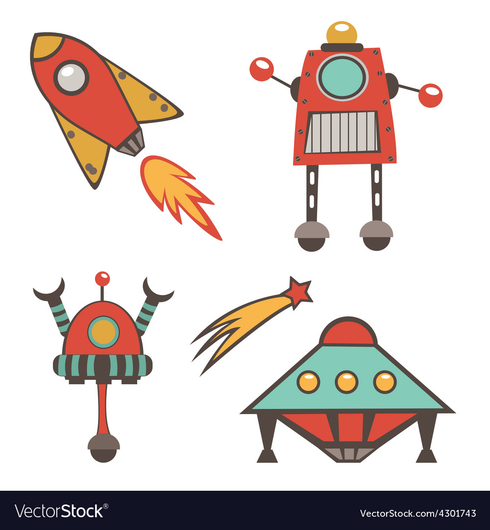 Colorful outer space stickers collection vector | Price: 1 Credit (USD $1)