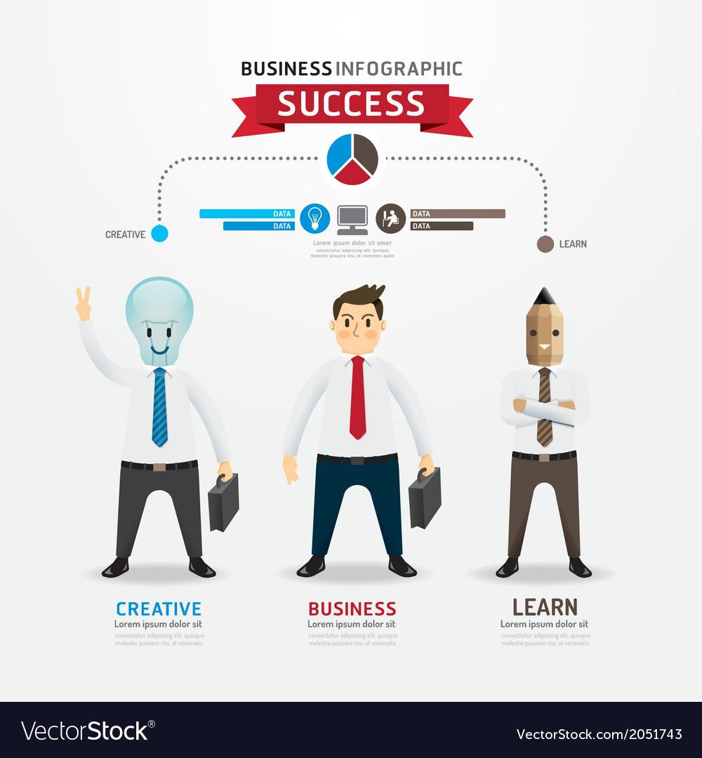 Concept of successful businessman cartoon infograp vector | Price: 1 Credit (USD $1)