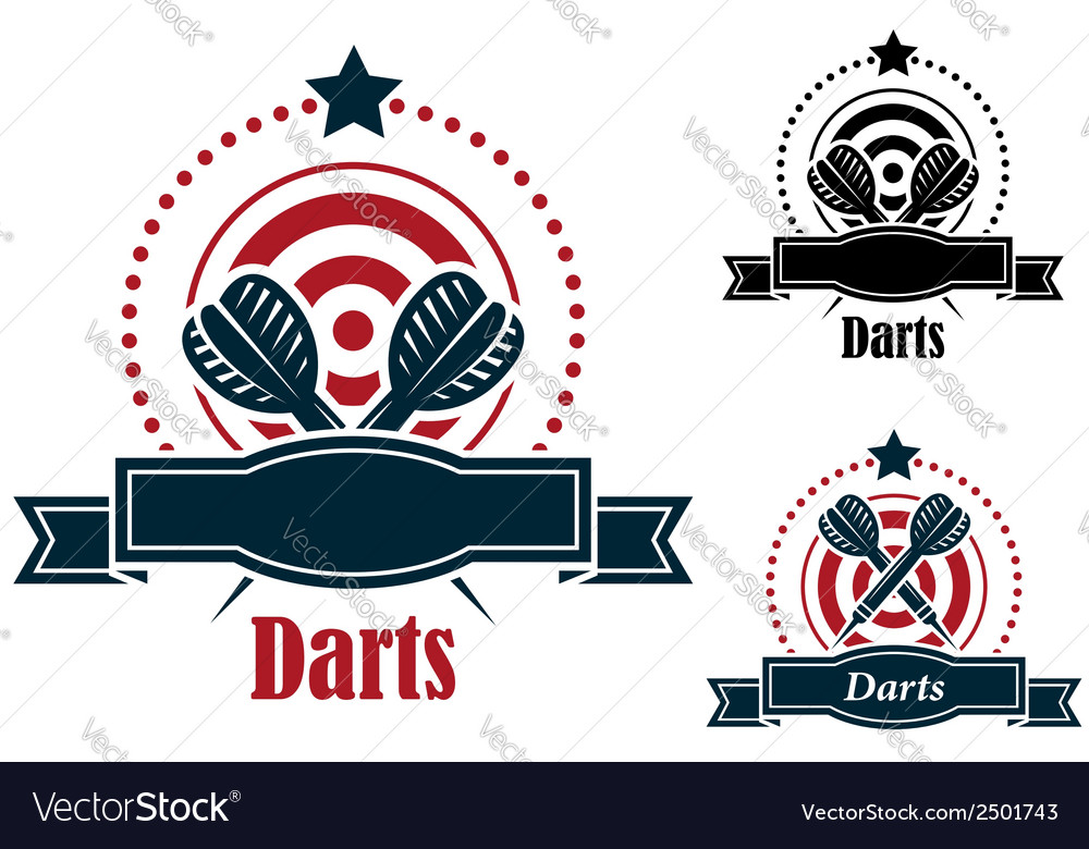 Darts sports emblems with banners vector | Price: 1 Credit (USD $1)