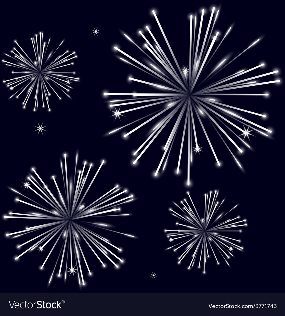 Grayscale shiny fireworks on black background vector | Price: 1 Credit (USD $1)