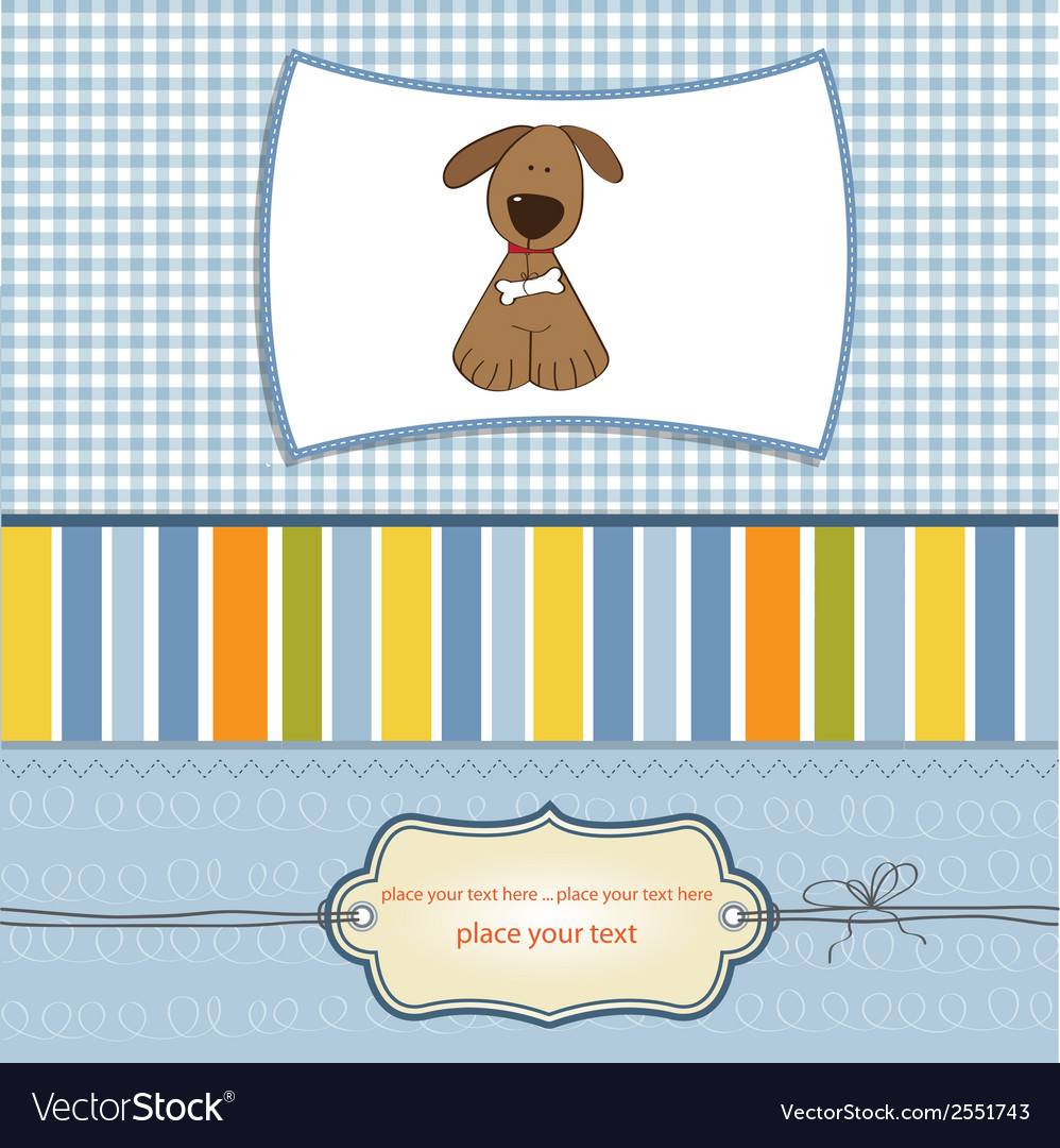 Greeting card with small dog vector | Price: 1 Credit (USD $1)