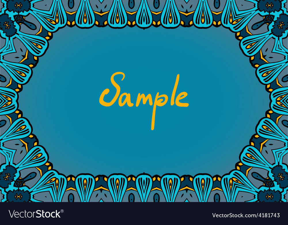Hand drawn frame in indian style dominate blue vector | Price: 1 Credit (USD $1)
