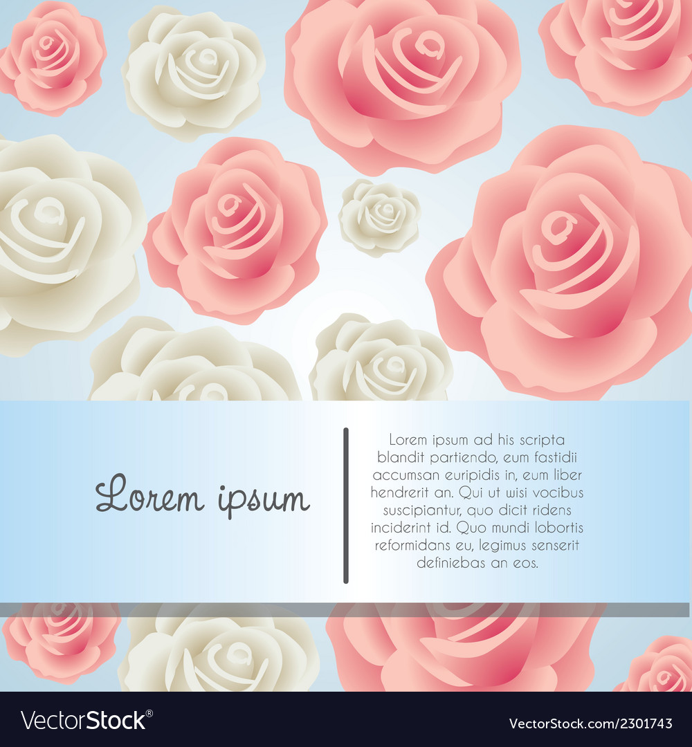 Invitation card with colorful roses vector | Price: 1 Credit (USD $1)