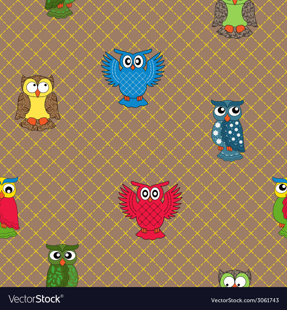 Multicolour owl seamless pattern vector | Price: 1 Credit (USD $1)