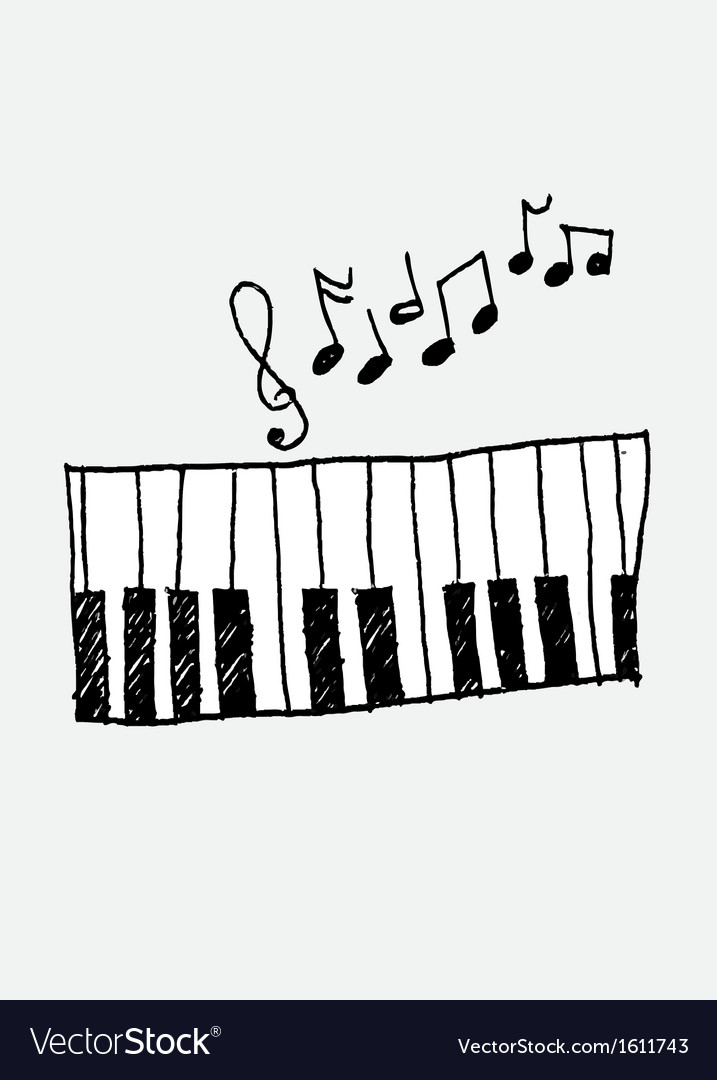 Music icon piano and musical notes vector | Price: 1 Credit (USD $1)