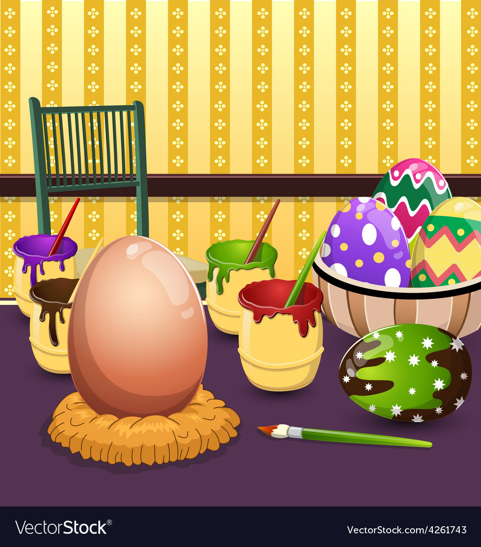 Painting easter eggs on table vector | Price: 3 Credit (USD $3)