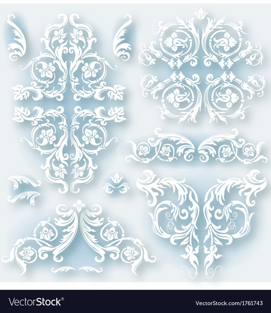 Set of vintage baroque border vector | Price: 1 Credit (USD $1)