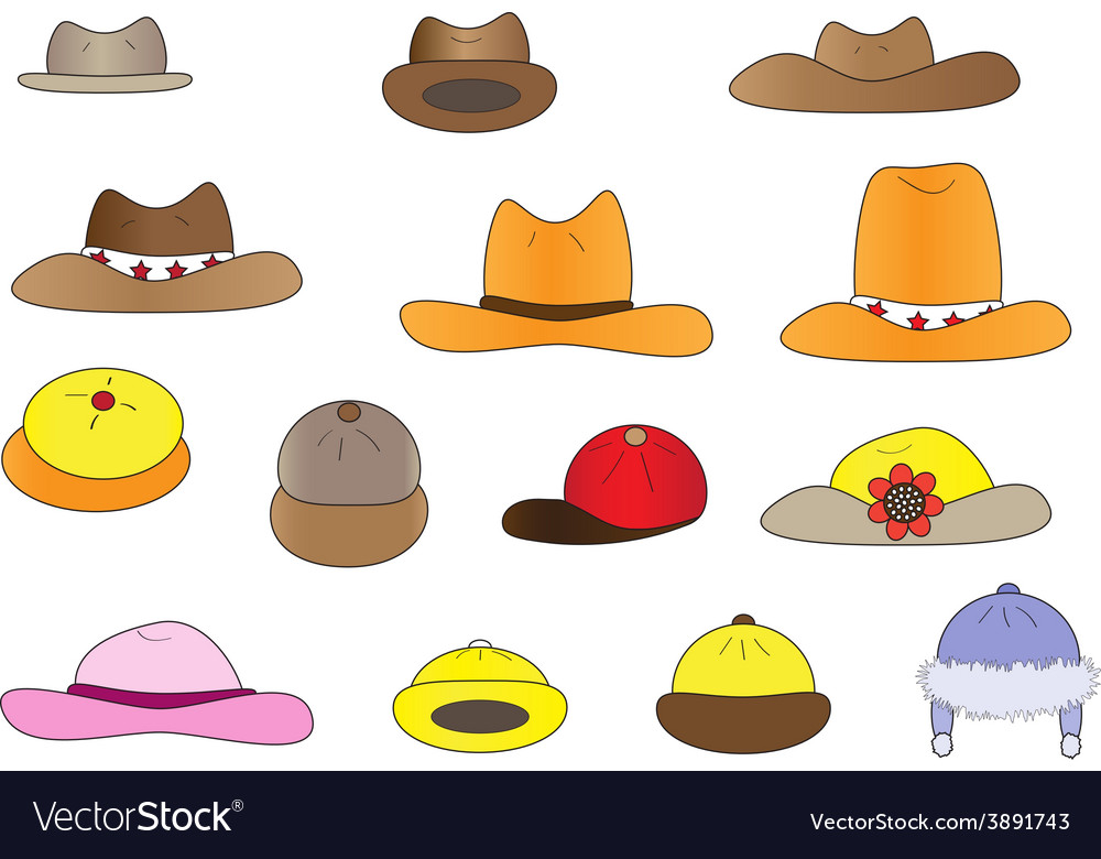 Variety cartoon hats vector | Price: 1 Credit (USD $1)