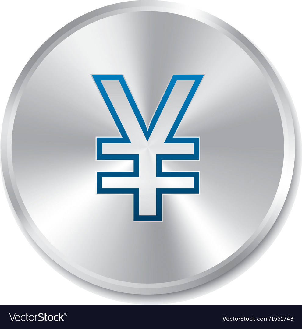 Yen silver sign isolated currency icon vector | Price: 1 Credit (USD $1)